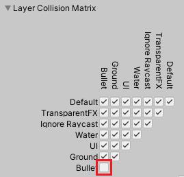 Layer Collision MatrixでBulletレイヤー同士の衝突をなくす