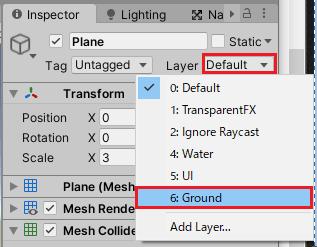 PlaneゲームオブジェクトをGroundレイヤーに設定する
