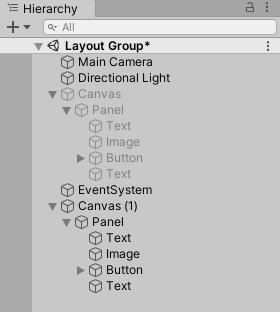 Grid Layout Groupで使うCanvasのヒエラルキー