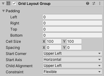 Grid Layout Groupの設定項目