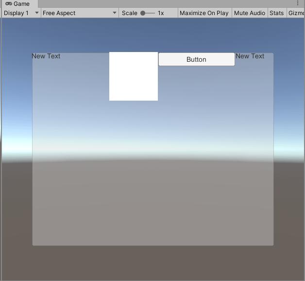Horizontal Layout Groupコンポーネントを取り付けるとすぐにUI要素が整列された