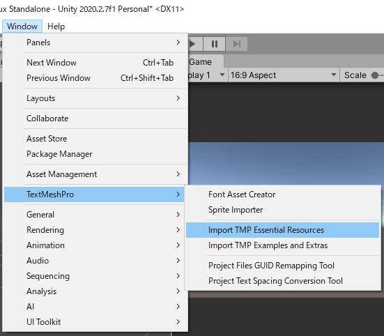 TextMeshProのTMP Essential Resourcesをインポートする