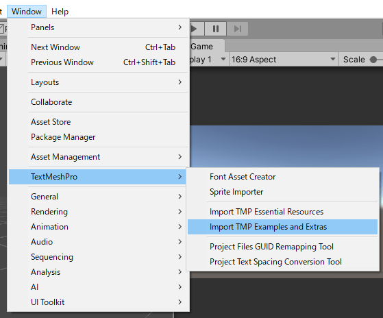 TextMeshProのサンプルをインポートする