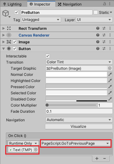 PreButtonを押したらPageScriptのGoToPreviousPageメソッドを実行する