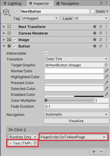 NextButtonを押したらPageScriptのGoToNextPageメソッドを実行する