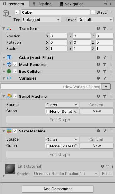 ゲームオブジェクトにScript MachineやState Machineを取り付ける