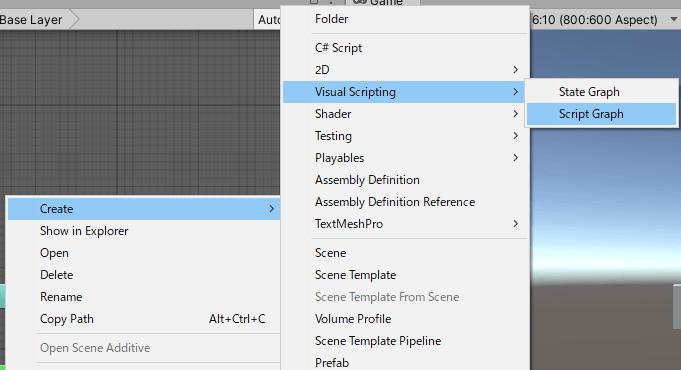 Assetsフォルダ内からScript Graphを作成する