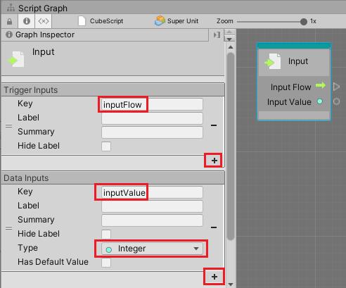 Inputユニットにフローポートとデータポートを作成する