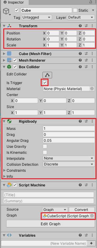 スクリプトグラフのサンプルで使用するCubeのインスペクタ