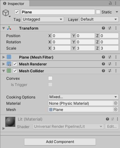 VisualScriptingのドアのサンプルでの床のゲームオブジェクトのインスペクタ