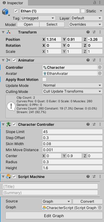 Visual Scriptingで動くキャラクターの設定