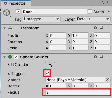 Doorゲームオブジェクトにキャラクターを検知する範囲を作成する
