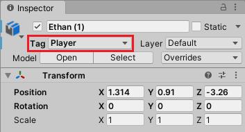キャラクターにはPlayerタグを設定する