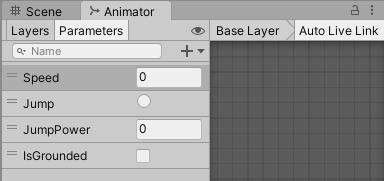 ジャンプキャラクターのアニメーションパラメーター