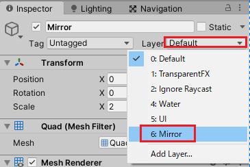 MirrorゲームオブジェクトにMirrorレイヤーを設定する