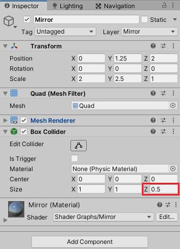 MirrorゲームオブジェクトのMeshColliderをBoxColliderに変更する