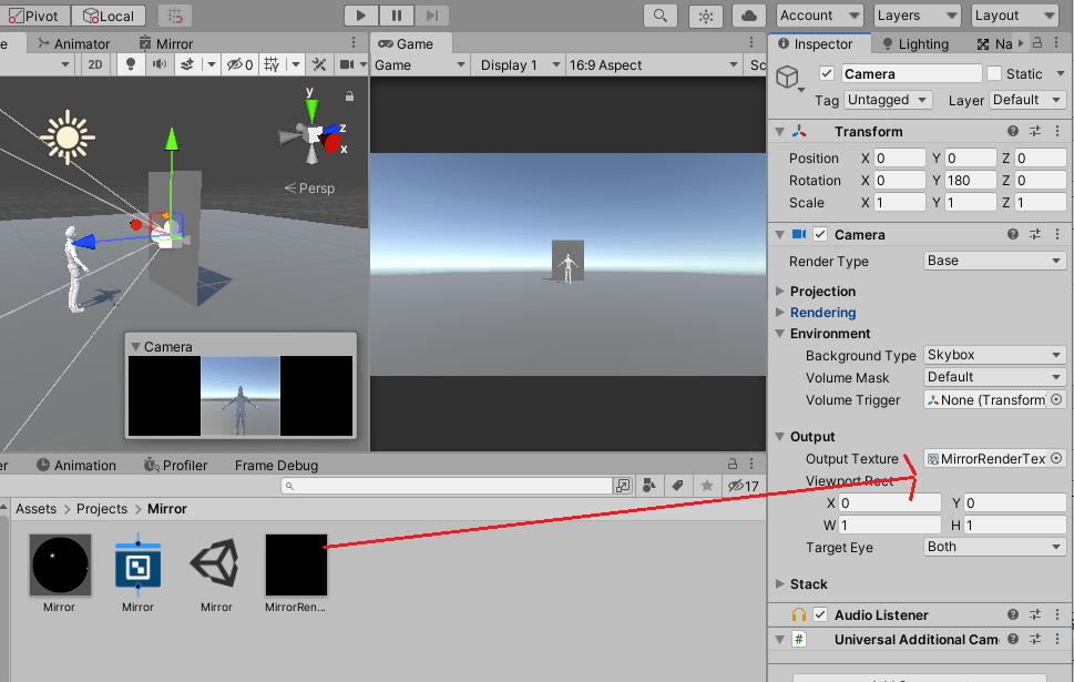 CameraのOutput TextureにMirrorRenderTextureを設定する