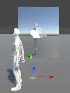 TransformのScaleのXの数値にマイナスを付けて映像が反転した
