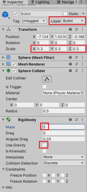 AddForceで動かすキャラクターのサンプルで使うBulletの設定