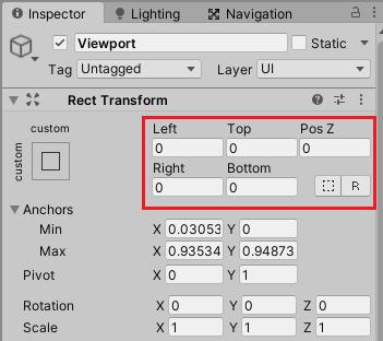 ログ表示UIのViewportの四隅を移動させたことによって数値が入ったら0を入力する