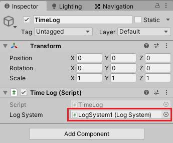 ログ表示機能のタイマーログゲームオブジェクトの設定