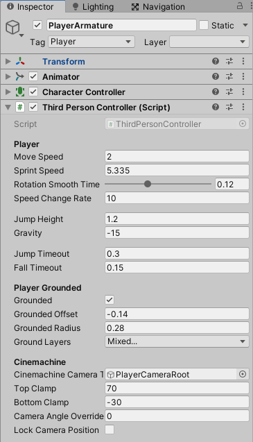 ThirdPersonControllerの設定値