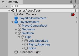 Reset Third Person Controller Armatureを選択すると作られる階層