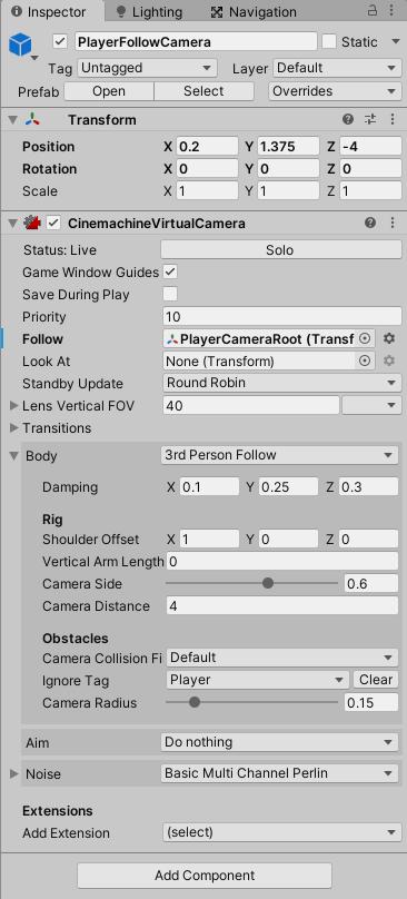 サードパーソン機能のPlayerFollowCameraの設定