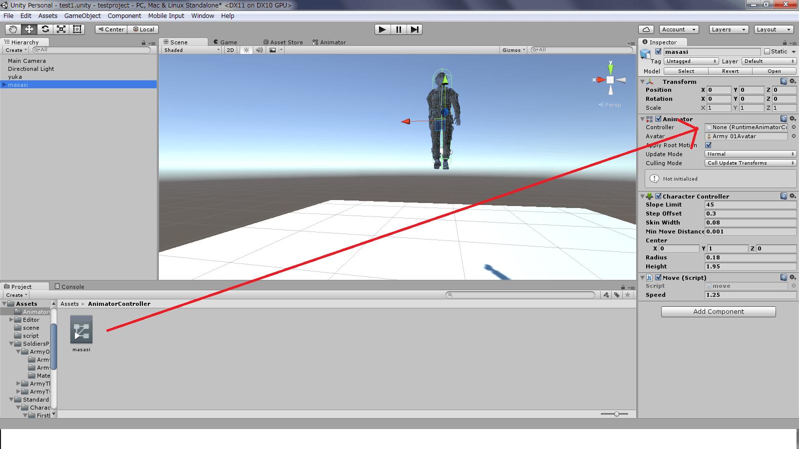 キャラクターのアニメーターにアニメーターコントローラーを設定する