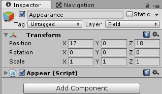 敵キャラを出現させるAppearScriptスクリプトを取りつける