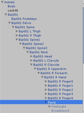 Equip空オブジェクトの子要素に武器を移動