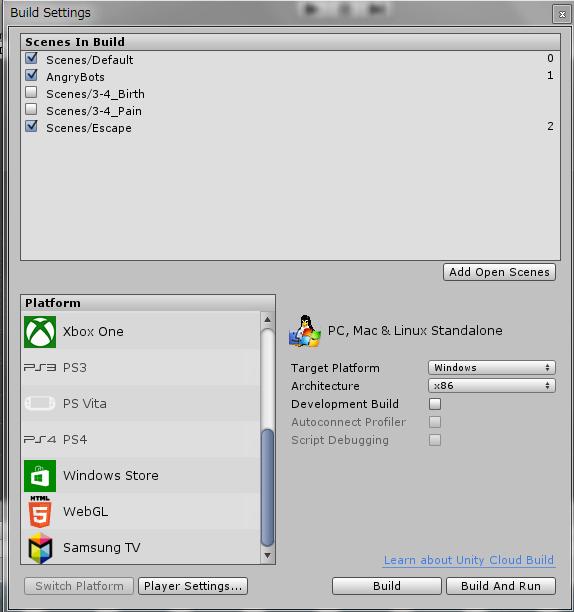Build Settings項目
