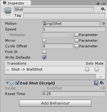 Shot状態のインスペクタでEndShotのパラメータを設定