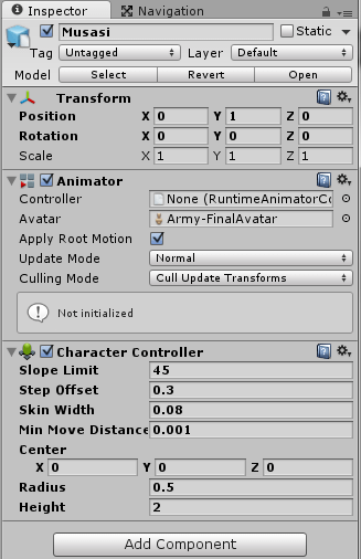 CharacterControllerを追加した後のインスペクタ