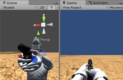 左手の位置と角度を調整する
