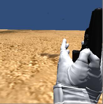 Game画面で手と銃が少し見えるぐらいの位置にする