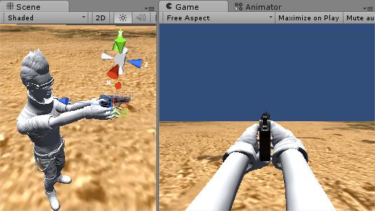 両手IKで銃を構えるアニメーションを作った結果