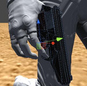 銃の位置と角度を調整し右手に持たせる