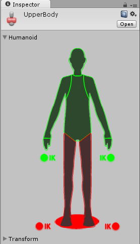 上半身だけが動くようにアバターマスクの設定をする