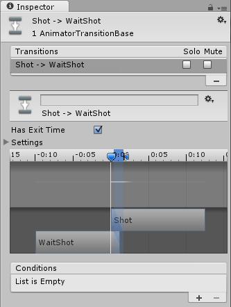 ShotからWaitShotに遷移する時のアニメーションブレンド