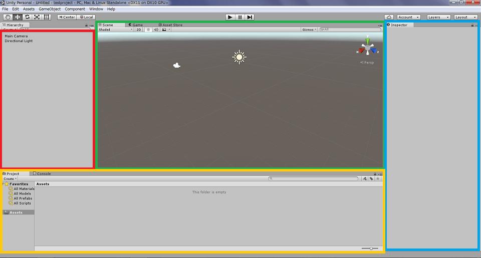 Unity起動後の画面