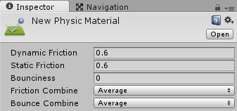Physic Materialのインスペクタの設定