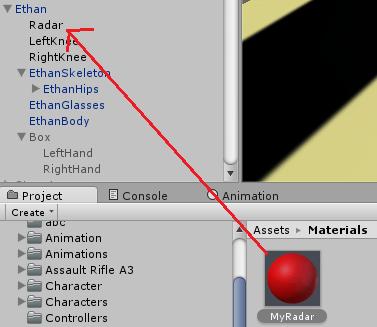 目印ゲームオブジェクトにマテリアルをドラッグ&ドロップする