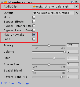 AudioSourceの設定を変更する