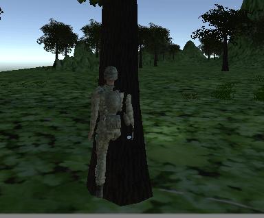 キャラクターが木にめり込んでしまう