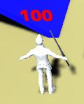 キャラクターの頭上にHPを表示した所