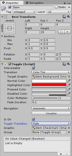 ItemのToggleのHighlighted Colorを赤色にする