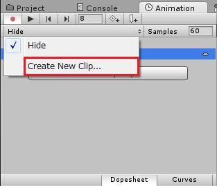 新しいアニメーションクリップを作成する