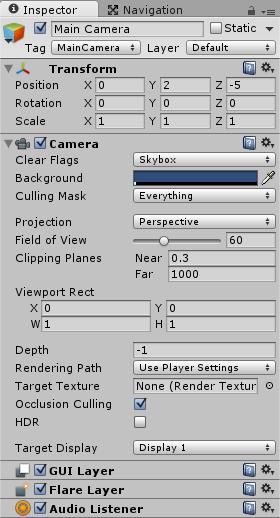 アニメーションUIを表示するメインカメラの位置